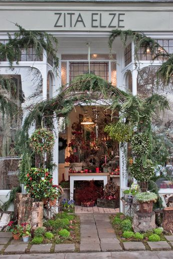 Outside florist Zita Elze's beautiful shop in Kew - Christmas 2013