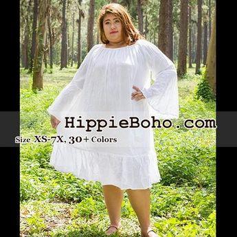 5f3f96716c8 No.326 - Size XS-7X Hippie Boho Bohemian Gypsy White Long