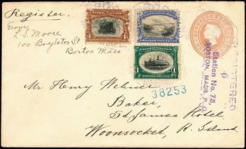 United Sates 1901 Pan-American Exhibition Issue Covers bulk lot. Ten Mixed Denomination Pan American Covers,  with each cover having at least two different values of Pan American adhesives, all but one are registered usages including one with 1c,4c,5c adhesives on Great Britain entire, one addressed to France, all values except the 8c are present on at least one cover, most are Fine-Very Fine, Estimate: 400-500 US$