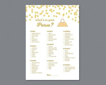 whats in your purse game gold confetti bridal shower games printable purse hunt game