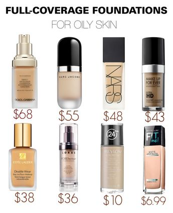 Full-coverage foundations for oily skin