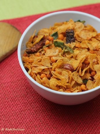Corn flakes Cereal Chivda (Spicy Indian Mixture Recipe)