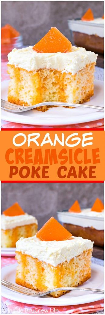 Orange Creamsicle Poke Cake - orange Jello stripes and a fluffy pudding frosting make this poke cake a delicious summer dessert. Make this easy cake recipe for picnics and parties! #cake #orange #summerdessert #recipe #jellocake #puddding #creamsiclecake