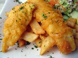 Frites et poisson, Fish and chips (Royaume Uni)