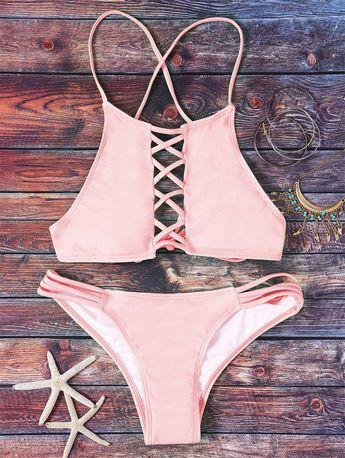 $19.99 Pink Hollow Out Halter Bikini Set - PINK L