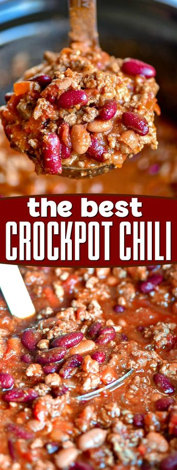 This amazing Crockpot Chili recipe is delicious, hearty, and perfect for chilly weather! Super easy to make and perfect for loading up with all your favorite toppings! // Mom On Timeout #chili #chilirecipe #recipe #recipes #slowcooker #crockpot #beans #beef #gameday #fall