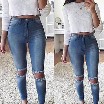 Denim Slim Trousers Hole Jeans Blue from clothing