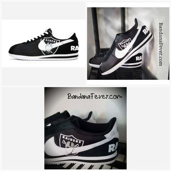 cc1422b3b0b2da Bandana Fever Oakland Raiders Print Custom Black White Nike Cortez Shoes