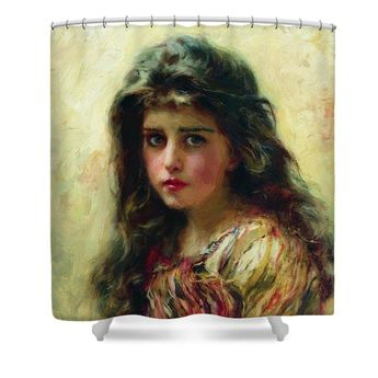 Portrait Of The Girl Shower Curtain for Sale by Makovsky Konstantin
