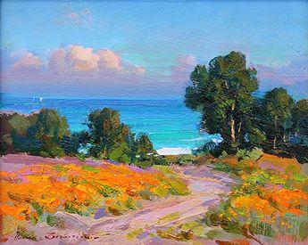 Ovanes Berberian, Artist, Waterhouse Gallery, Landscape and Still Lfe Artist, bold use os color, Waterhouse Gallery Santa Barbara California