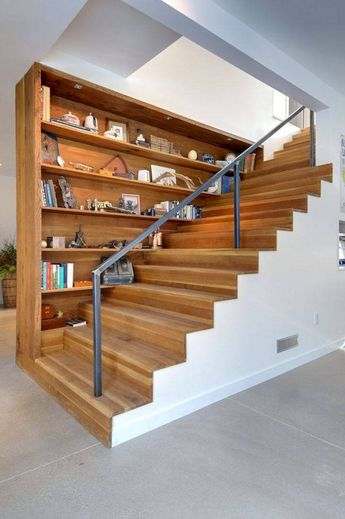 Creative Ways To Decor Bookshelves Around Stairs