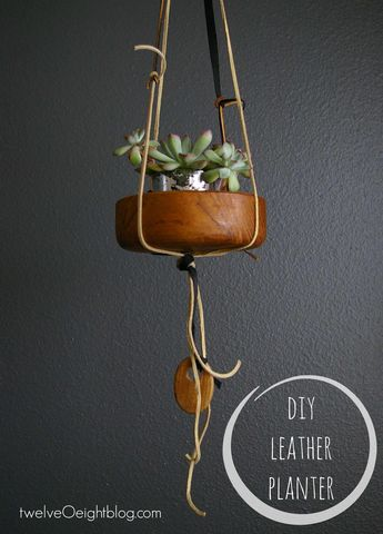 DIY Knotted Leather Hanging Planter