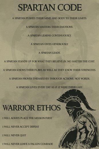 WA039 - Spartan Code English - Warrior Poster