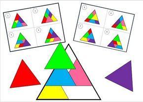 Le jeu est composé d'un grand triangle équilatéral qu'il faut compléter en plaçant 6 triangles de couleurs. Les repères su...