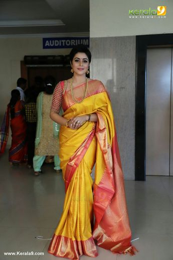 b893a1044a Poorna in a Yellow Silk Saree at Bhavana and Naveen wedding
