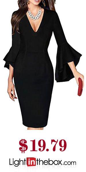 Women's Plus Size Work Sexy Flare Sleeve Sheath Dress Print Spring Red / White Rainbow Royal Blue XXXL XXXXL XXXXXL / Deep V