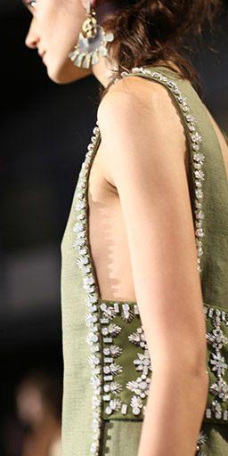 Humble fabrics, rich embellishment: linen burlap with crystal beading #toryburch #toryburchss16 #nyfw