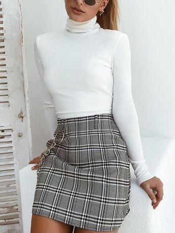 High Neck Backless Bowknot Cutout Lace-Up Back Hole Plain Sweaters