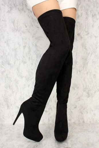 71f1bda1714f Black Platform Pump High Thigh High Boots Faux Suede