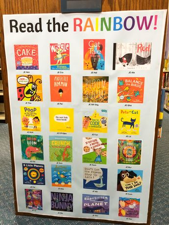 Read the rainbow! Check out the newest children's room display, featuring nonfiction and fiction picture books- both beloved classics and new favorites! Head to our website for a printable PDF! #Display #Library #LibraryDisplay #ChildrensBooks #BulletinBoard #ReadersAdvisory