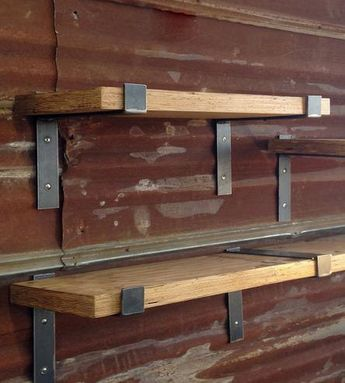 "48"" x 9.5"" Reclaimed Wood Shelf with Two Handcrafted Metal Shelf Brackets (can be customized)"