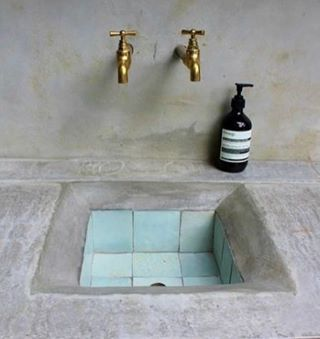 Bathroom sink inspo ....I'm going to do this ...in this colour too !! Image via Pinterest - anyone have a clue what genius designer is behind this ?? #bsthroominspo #styleinspo #interiordesign #interiorstyling #sink