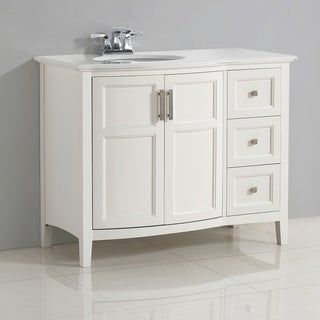 "WYNDENHALL Salem 42 inch Contemporary Bath Vanity in Soft White with Bombay White Engineered Quartz Marble Top (Salem 42"" White Rounded Front Bath"