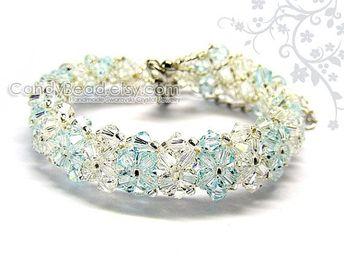 5896cb63f Crystal bracelet; Swarovski bracelet; Glass bracelet; Luxurious Light Blue Swarovski  Crystal Bracelet by