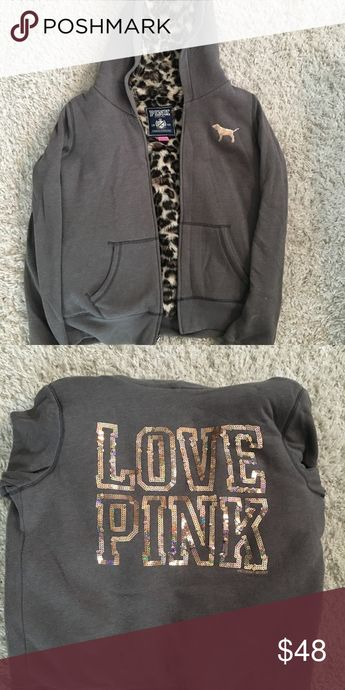 543416926ea2 Victorias Secret PINK Faux Fur Leopard Hoodie Super warm and soft hoodie/ jacket lined with