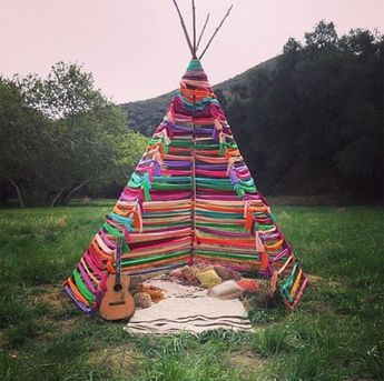 Teepee make over using ribbons or old t-shirt stretchy material...