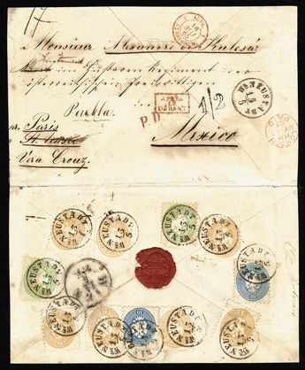 """Austria 1865 large cover (opened for display) from Wiener Neustadt, Austria, 13 May to Mexico, franked with 3kr green (2), 10kr blue (2) and 15kr brown (7) for a total of 131kr, addressed to a lieutenant in the Hussar regiment of Austrian Volunteers at Puebla, Mexico. The letter was intended to be sent via Paris and St. Nazaire, but the French ship had departed (red boxed """"apres le depart"""" hs), so it was sent instead by British ship """"Seine"""" departing Southampton May 17th and arriving at St. Thom"""