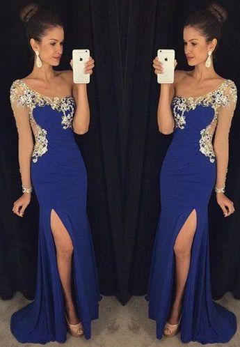 Blue Prom Dress with Slit Prom Dresses with One Sleeves
