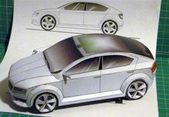 Škoda VisionD Concept Paper Car Free Vehicle Paper Model Download