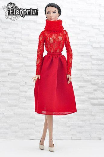 2c41982356 ELENPRIV red midi chiffon skirt for Fashion royalty FR:16 and