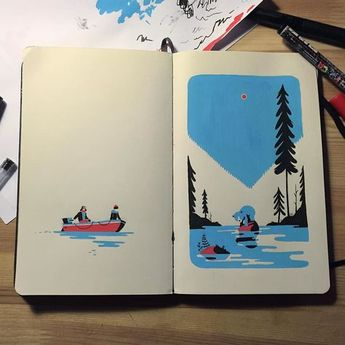 "My contribution to the great ""Two pages"" project. Thanks to the talented @robertsrurans for sending me the sketchbook! #twopages #whatstheplan #sketchbook #gouache by tomhaugomat"