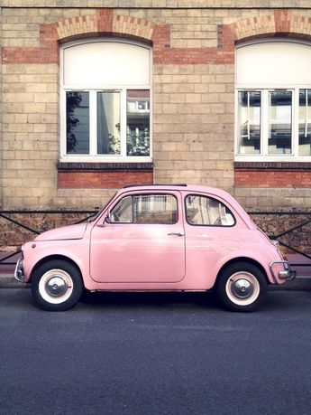 Pink car!! Let's drive this thing and feel like barbie girls!! XD what? That car reminds me of barbie! XD