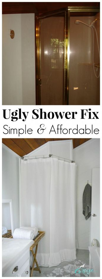 How to hide an ugly corner shower! Simple DIY Shower Fix - Affordable Makeover Solutions and Ideas (when you can't afford to renovate) Tutorials and Details at foxhollowcottage.com #cornershower #showerfix #showermakeover  #diymakeover #showerhack #diy #diyhome #bathroommakeover #budgetbathroom