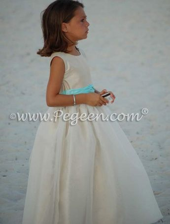 7bc3296186 Pegeen Style 326 FLOWER GIRL DRESSES in summer tan and tiffany blue