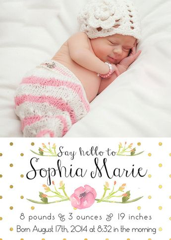 Baby Girl Birth Announcement Watercolor Floral Custom Photo Card by kreynadesigns  www.etsy.com/shop/kreynadesigns