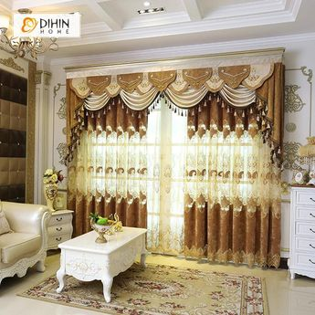 DIHIN HOME Velvet Exquisite Luxury Embroidered Valance ,Blackout Curtains Grommet Window Curtain for Living Room ,52x84-inch,1 Panel