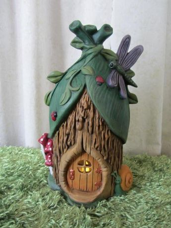 Handmade fairy house - dragonfly Chalet -Faerie home - Fairy garden - tea light holder