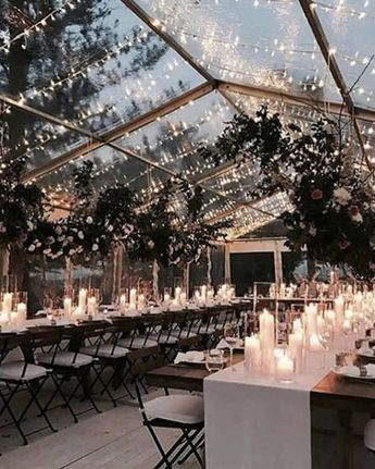 Enjoy the winter night sky under a swoon-worthy clear tented wedding reception. #winter #wedding