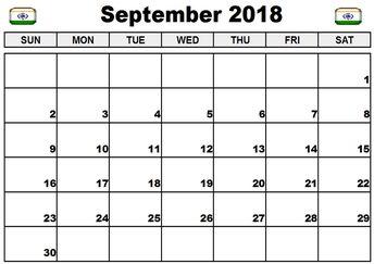 september 2018 calendar india watermark