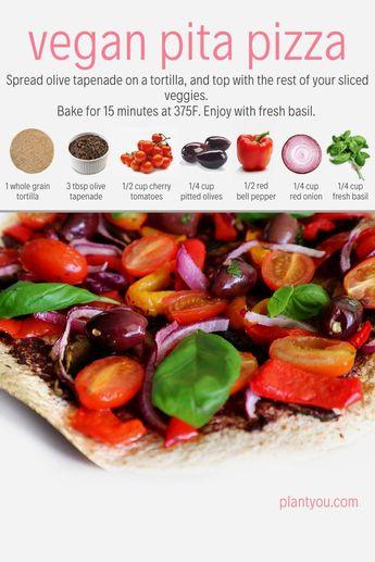 Vegan Pita Pizza | Vegetarian Pizza | Healthy Vegan Dinner | 15 Minute Pizza Recipe