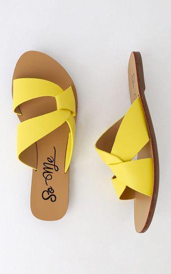 Hanako Yellow Slide Sandals