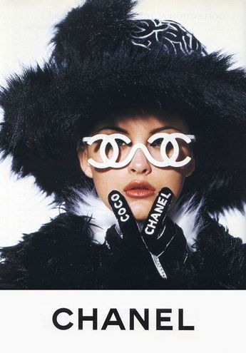 Trish Goff Wearing Monogrammed Chanel Glasses for A/W94