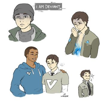 Detroit become human Connor x Markus By: whathebmelo tumblr