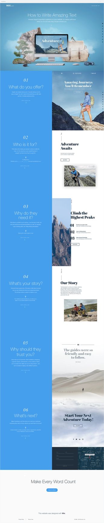 Looking for tips on writing amazing text for your website? Discover this writing guide from Wix on the 6 important questions you need to answer on your website.