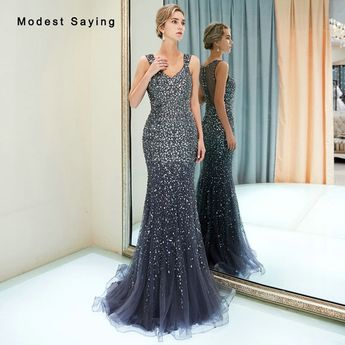 Find More Evening Dresses Information about Luxury Mermaid Sweetheart Evening  Dresses 2019 with Rhinestone Formal Beaded f54092318051