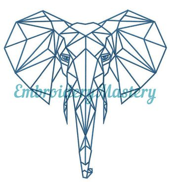 Elephant Machine Embroidery Design - Animal embroidery - Safari embroidery - Polygonal design - Instant Download